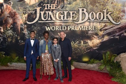 """HOLLYWOOD, CALIFORNIA - APRIL 04: (L-R) Actors Ritesh Rajan, Lupita Nyong'o, Neel Sethi and Sir Ben Kingsley attend The World Premiere of Disney's """"THE JUNGLE BOOK"""" at the El Capitan Theatre on April 4, 2016 in Hollywood, California. (Photo by Alberto E. Rodriguez/Getty Images for Disney) *** Local Caption *** Ritesh Rajan; Neel Sethi; Lupita Nyong'o; Ben Kingsley"""