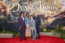 """HOLLYWOOD, CALIFORNIA - APRIL 04: (L-R) Actors Giancarlo Esposito, Lupita Nyong'o, Neel Sethi and Ben Kingsley attend The World Premiere of Disney's """"THE JUNGLE BOOK"""" at the El Capitan Theatre on April 4, 2016 in Hollywood, California. (Photo by Jesse Grant/Getty Images for Disney) *** Local Caption *** Neel Sethi; Lupita Nyong'o; Ben Kingsley; Giancarlo Esposito"""