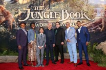 """HOLLYWOOD, CALIFORNIA - APRIL 04: (L-R) Actors Giancarlo Esposito, Lupita Nyong'o, Neel Sethi, Ben Kingsley, director/producer Jon Favreau, actors Russell Peters and actor Ritesh Rajan attend The World Premiere of Disney's """"THE JUNGLE BOOK"""" at the El Capitan Theatre on April 4, 2016 in Hollywood, California. (Photo by Jesse Grant/Getty Images for Disney) *** Local Caption *** Neel Sethi; Lupita Nyong'o; Ben Kingsley; Giancarlo Esposito; Jon Favreau; Ritesh Rajan; Russell Peters"""