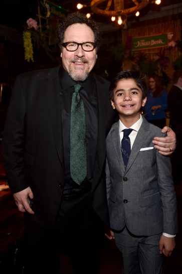 """HOLLYWOOD, CALIFORNIA - APRIL 04: Director/producer Jon Favreau (L) and Neel Sethi attend The World Premiere of Disney's """"THE JUNGLE BOOK"""" at the El Capitan Theatre on April 4, 2016 in Hollywood, California. (Photo by Alberto E. Rodriguez/Getty Images for Disney) *** Local Caption *** Jon Favreau; Neel Sethi"""