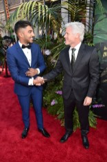 """HOLLYWOOD, CALIFORNIA - APRIL 04: Actor Ritesh Rajan (L) and producer Brigham Taylor attend The World Premiere of Disney's """"THE JUNGLE BOOK"""" at the El Capitan Theatre on April 4, 2016 in Hollywood, California. (Photo by Alberto E. Rodriguez/Getty Images for Disney) *** Local Caption *** Ritesh Rajan; Brigham Taylor"""