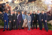 """HOLLYWOOD, CALIFORNIA - APRIL 04: (L-R) Actor Ritesh Rajan, producer Brigham Taylor, composer John Debney, composer Richard Sherman, actor Giancarlo Esposito, Chairman of the Walt Disney Studios, Alan Horn, actors Lupita Nyong'o, Neel Sethi, Sir Ben Kingsley, director Jon Favreau, President of Walt Disney Studios Motion Picture Production, Sean Bailey and EVP Production, The Walt Disney Company, Sam Dickerman attend The World Premiere of Disney's """"THE JUNGLE BOOK"""" at the El Capitan Theatre on April 4, 2016 in Hollywood, California. (Photo by Jesse Grant/Getty Images for Disney) *** Local Caption *** Ritesh Rajan; Brigham Taylor; John Debney; Richard Sherman; Giancarlo Esposito; Alan Horn; Lupita Nyong'o; Neel Sethi; Ben Kingsley; Jon Favreau; Sean Bailey; Sam Dickerman"""