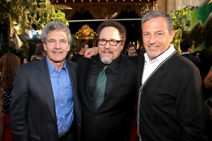 """HOLLYWOOD, CALIFORNIA - APRIL 04: (L-R) Chairman of the Walt Disney Studios, Alan Horn, director Jon Favreau and Chairman and CEO, The Walt Disney Company, Bob Iger attend The World Premiere of Disney's """"THE JUNGLE BOOK"""" at the El Capitan Theatre on April 4, 2016 in Hollywood, California. (Photo by Jesse Grant/Getty Images for Disney) *** Local Caption *** Alan Horn; Jon Favreau; Bob Iger"""