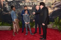 """HOLLYWOOD, CALIFORNIA - APRIL 04: (L-R) Actors Lupita Nyong'o, Ritesh Rajan, Neel Sethi, Ben Kingsley and director/producer Jon Favreau attend The World Premiere of Disney's """"THE JUNGLE BOOK"""" at the El Capitan Theatre on April 4, 2016 in Hollywood, California. (Photo by Alberto E. Rodriguez/Getty Images for Disney) *** Local Caption *** Neel Sethi; Lupita Nyong'o; Ben Kingsley; Giancarlo Esposito; Jon Favreau"""