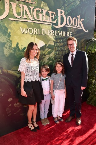 """HOLLYWOOD, CALIFORNIA - APRIL 04: Animation supervisor Andrew R. Jones (R) and family attend The World Premiere of Disney's """"THE JUNGLE BOOK"""" at the El Capitan Theatre on April 4, 2016 in Hollywood, California. (Photo by Alberto E. Rodriguez/Getty Images for Disney) *** Local Caption *** Andrew R. Jones"""