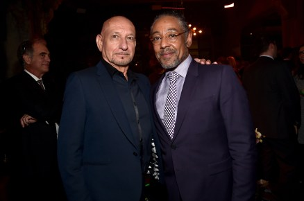 """HOLLYWOOD, CALIFORNIA - APRIL 04: Actors Sir Ben Kingsley (L) and Giancarlo Esposito attend The World Premiere of Disney's """"THE JUNGLE BOOK"""" at the El Capitan Theatre on April 4, 2016 in Hollywood, California. (Photo by Alberto E. Rodriguez/Getty Images for Disney) *** Local Caption *** Ben Kingsley; Giancarlo Esposito"""