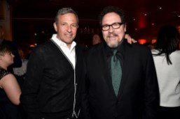 """HOLLYWOOD, CALIFORNIA - APRIL 04: CEO, The Walt Disney Company, Bob Iger (L) and director Jon Favreau attend The World Premiere of Disney's """"THE JUNGLE BOOK"""" at the El Capitan Theatre on April 4, 2016 in Hollywood, California. (Photo by Alberto E. Rodriguez/Getty Images for Disney) *** Local Caption *** Bob Iger; Jon Favreau"""