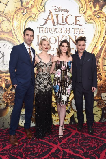 HOLLYWOOD, CA - MAY 23: Actors Sacha Baron Cohen, Mia Wasikowska, Anne Hathaway and Johnny Depp attend Disney's 'Alice Through the Looking Glass' premiere with the cast of the film, which included Johnny Depp, Anne Hathaway, Mia Wasikowska and Sacha Baron Cohen at the El Capitan Theatre on May 23, 2016 in Hollywood, California. (Photo by Alberto E. Rodriguez/Getty Images for Disney) *** Local Caption *** Sacha Baron Cohen; Mia Wasikowska; Anne Hathaway; Johnny Depp