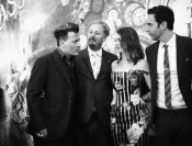 HOLLYWOOD, CA - MAY 23: (EDITORS NOTE: Image has been shot in black and white. Color version not available.) (L-R) Actor Johnny Depp, director James Bobin, actress Anne Hathaway and actor Sacha Baron Cohen attend Disney's 'Alice Through the Looking Glass' premiere with the cast of the film, which included Johnny Depp, Anne Hathaway, Mia Wasikowska and Sacha Baron Cohen at the El Capitan Theatre on May 23, 2016 in Hollywood, California. (Photo by Charley Gallay/Getty Images for Disney) *** Local Caption *** Johnny Depp; James Bobin; Anne Hathaway; Sacha Baron Cohen