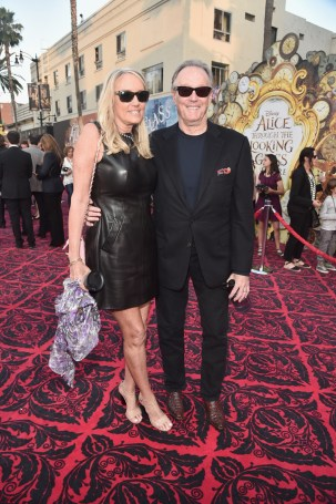 HOLLYWOOD, CA - MAY 23: Margaret DeVogelaere (L) and actor Peter Fonda attend Disney's 'Alice Through the Looking Glass' premiere with the cast of the film, which included Johnny Depp, Anne Hathaway, Mia Wasikowska and Sacha Baron Cohen at the El Capitan Theatre on May 23, 2016 in Hollywood, California. (Photo by Alberto E. Rodriguez/Getty Images for Disney) *** Local Caption *** Peter Fonda; Margaret DeVogelaere