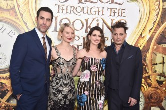 HOLLYWOOD, CA - MAY 23: (L-R) Actors Sacha Baron Cohen, Mia Wasikowska, Anne Hathaway and Johnny Depp attend Disney's 'Alice Through the Looking Glass' premiere with the cast of the film, which included Johnny Depp, Anne Hathaway, Mia Wasikowska and Sacha Baron Cohen at the El Capitan Theatre on May 23, 2016 in Hollywood, California. (Photo by Alberto E. Rodriguez/Getty Images for Disney) *** Local Caption *** Sacha Baron Cohen; Mia Wasikowska; Anne Hathaway; Johnny Depp
