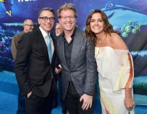 HOLLYWOOD, CA - JUNE 08: (L-R) President, Marketing, The Walt Disney Studios, Ricky Strauss, Director/screenwriter Andrew Stanton and producer Lindsey Collins attend The World Premiere of Disney-Pixar's FINDING DORY on Wednesday, June 8, 2016 in Hollywood, California. (Photo by Alberto E. Rodriguez/Getty Images for Disney) *** Local Caption *** Ricky Strauss; Andrew Stanton; Lindsey Collins