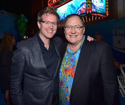 HOLLYWOOD, CA - JUNE 08: Director/screenwriter Andrew Stanton (L) and Executive producer John Lasseter attend The World Premiere of Disney-Pixar's FINDING DORY on Wednesday, June 8, 2016 in Hollywood, California. (Photo by Alberto E. Rodriguez/Getty Images for Disney) *** Local Caption *** Andrew Stanton; John Lasseter