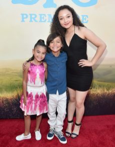 """HOLLYWOOD, CA - JUNE 21: (L-R) Actors Ariana Greenblatt, Malachi Barton and Kayla Maisonet arrive on the red carpet for the US premiere of Disney's """"The BFG,"""" directed and produced by Steven Spielberg. A giant sized crowd lined the streets of Hollywood Boulevard to see stars arrive at the El Capitan Theatre. """"The BFG"""" opens in U.S. theaters on July 1, 2016, the year that marks the 100th anniversary of Dahl's birth, at the El Capitan Theatre on June 21, 2016 in Hollywood, California. (Photo by Alberto E. Rodriguez/Getty Images for Disney) *** Local Caption *** Ariana Greenblatt; Malachi Barton; Kayla Maisonet"""
