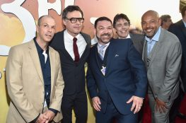 """HOLLYWOOD, CA - JUNE 21: (L-R) Actors Chris Gibbs, Jemaine Clement, Paul Moniz de Sa, Jonathan Holmes and Daniel Bacon arrive on the red carpet for the US premiere of Disney's """"The BFG,"""" directed and produced by Steven Spielberg. A giant sized crowd lined the streets of Hollywood Boulevard to see stars arrive at the El Capitan Theatre. """"The BFG"""" opens in U.S. theaters on July 1, 2016, the year that marks the 100th anniversary of Dahl's birth, at the El Capitan Theatre on June 21, 2016 in Hollywood, California. (Photo by Alberto E. Rodriguez/Getty Images for Disney) *** Local Caption *** Chris Gibbs; Jemaine Clement; Paul Moniz de Sa; Jonathan Holmes; Daniel Bacon"""