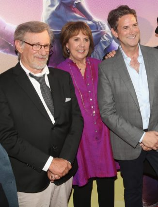 """HOLLYWOOD, CA - JUNE 21: (L-R) Director Steven Spielberg, actress Penelope Wilton and CEO, Amblin Partners, Michael Wright arrive on the red carpet for the US premiere of Disney's """"The BFG,"""" directed and produced by Steven Spielberg. A giant sized crowd lined the streets of Hollywood Boulevard to see stars arrive at the El Capitan Theatre. """"The BFG"""" opens in U.S. theaters on July 1, 2016, the year that marks the 100th anniversary of Dahl's birth, at the El Capitan Theatre on June 21, 2016 in Hollywood, California. (Photo by Jesse Grant/Getty Images for Disney) *** Local Caption *** Steven Spielberg; Penelope Wilton; Michael Wright"""