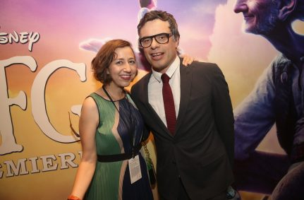 """HOLLYWOOD, CA - JUNE 21: Actors Kristen Schaal and Jermaine Clement arrive on the red carpet for the US premiere of Disney's """"The BFG,"""" directed and produced by Steven Spielberg. A giant sized crowd lined the streets of Hollywood Boulevard to see stars arrive at the El Capitan Theatre. """"The BFG"""" opens in U.S. theaters on July 1, 2016, the year that marks the 100th anniversary of Dahl's birth, at the El Capitan Theatre on June 21, 2016 in Hollywood, California. (Photo by Jesse Grant/Getty Images for Disney) *** Local Caption *** Kristen Schaal; Jermaine Clement"""