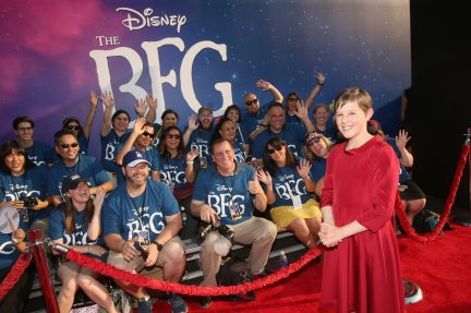 """HOLLYWOOD, CA - JUNE 21: Actress Ruby Barnhill arrives on the red carpet for the US premiere of Disney's """"The BFG,"""" directed and produced by Steven Spielberg. A giant sized crowd lined the streets of Hollywood Boulevard to see stars arrive at the El Capitan Theatre. """"The BFG"""" opens in U.S. theaters on July 1, 2016, the year that marks the 100th anniversary of Dahl's birth, at the El Capitan Theatre on June 21, 2016 in Hollywood, California. (Photo by Jesse Grant/Getty Images for Disney) *** Local Caption *** Ruby Barnhill"""