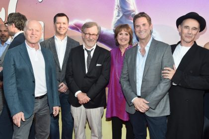 """HOLLYWOOD, CA - JUNE 21: (L-R) Producer Frank Marshall, Amblin Partner President and Co-CEO Jeff Small, director Steven Spielberg, actress Penelope Wilton, CEO, Amblin Partners, Michael Wright and actor Mark Rylance arrive on the red carpet for the US premiere of Disney's """"The BFG,"""" directed and produced by Steven Spielberg. A giant sized crowd lined the streets of Hollywood Boulevard to see stars arrive at the El Capitan Theatre. """"The BFG"""" opens in U.S. theaters on July 1, 2016, the year that marks the 100th anniversary of Dahl's birth, at the El Capitan Theatre on June 21, 2016 in Hollywood, California. (Photo by Alberto E. Rodriguez/Getty Images for Disney) *** Local Caption *** Frank Marshall; Jeff Small; Steven Spielberg; Penelope Wilton; Michael Wright; Mark Rylance"""