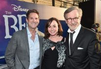 """HOLLYWOOD, CA - JUNE 21: (L-R) CEO, Amblin Partners, Michael Wright, Executive producer Kristie Macosko Krieger and Director Steven Spielberg arrive on the red carpet for the US premiere of Disney's """"The BFG,"""" directed and produced by Steven Spielberg. A giant sized crowd lined the streets of Hollywood Boulevard to see stars arrive at the El Capitan Theatre. """"The BFG"""" opens in U.S. theaters on July 1, 2016, the year that marks the 100th anniversary of Dahl's birth, at the El Capitan Theatre on June 21, 2016 in Hollywood, California. (Photo by Alberto E. Rodriguez/Getty Images for Disney) *** Local Caption *** Michael Wright; Kristie Macosko Krieger; Steven Spielberg"""