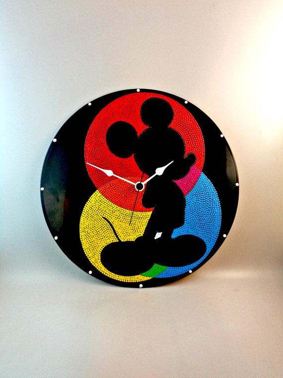 Bright and Colorful Mickey Vinyl Record Clock