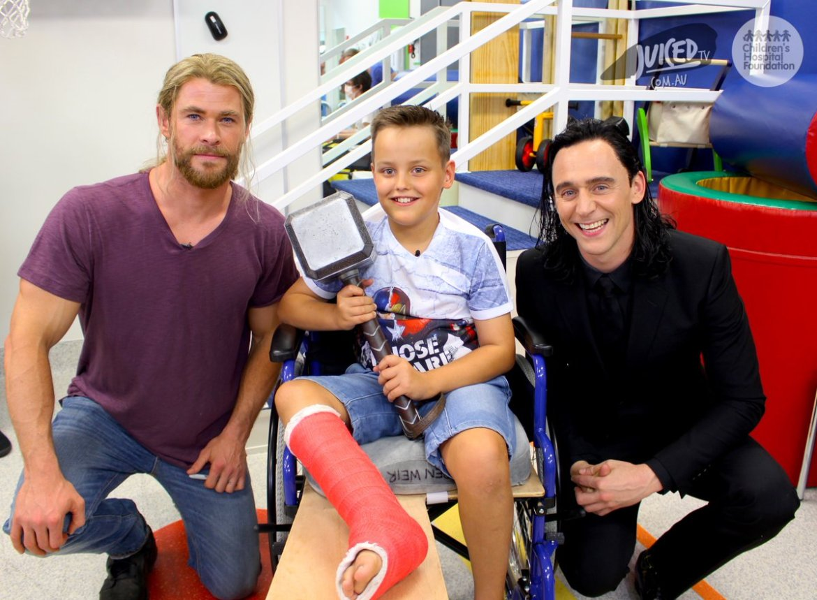 Thor And Loki take a break from filming to visit Children's Hospital