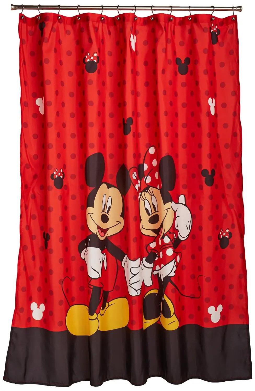 Red Disney Shower Curtain Full of Mickey & Minnie Love