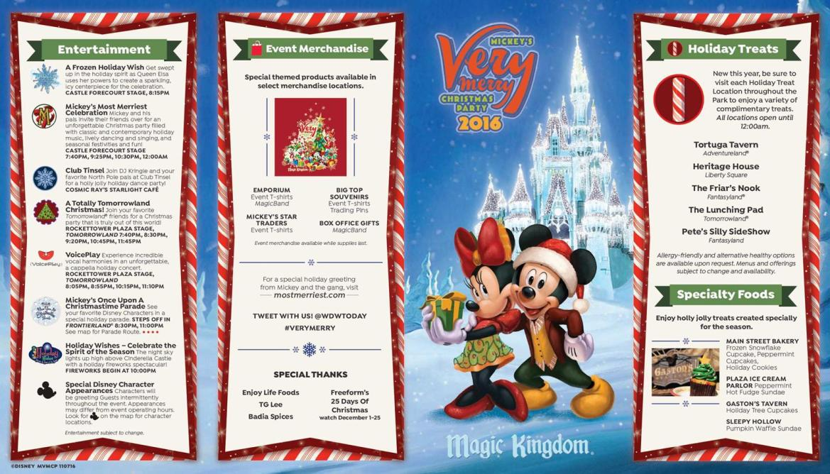 2016 Mickey's Very Merry Christmas Party Park Map