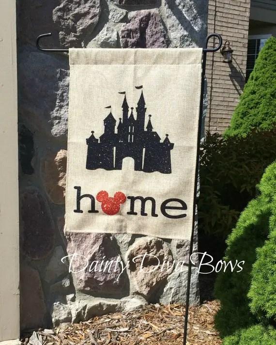 """""""Welcome Home!"""" With a Burlap Disney Garden Flag"""