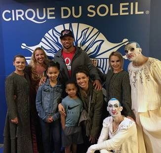 NFL Pro-Bowl Players and ESPN's Mike Golic Pay a Visit to Cirque du Soleil