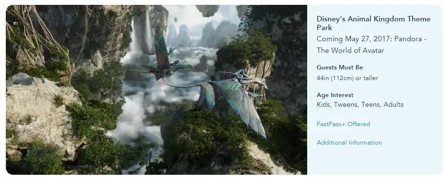 Fastpass+ Options now open for Pandora: World of Avatar