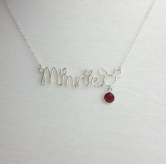 Beautiful Disney Birthstone Necklace with Personalized Name