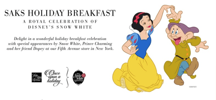 Enjoy a Magical Breakfast with Snow White at Saks Fifth Avenue this Holiday Season