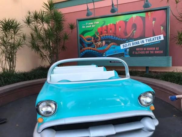 Sci Fi Car Returns in Front of Restaurant After Refurbishment