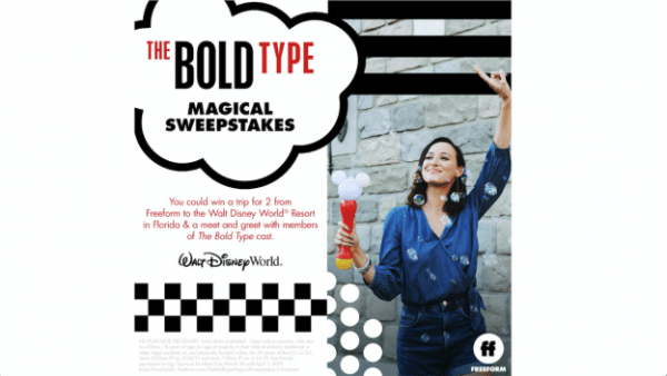 Enter 'The Bold Type Magical Sweepstakes' To Win a Walt Disney World Vacation!
