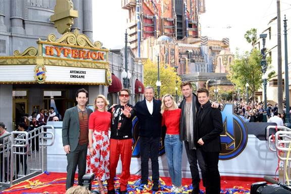Robert Downey Jr., Scarlett Johansson, Paul Rudd, Chris Hemsworth, Jeremy Renner and Brie Larson kick off Avengers Unite in California Adventure