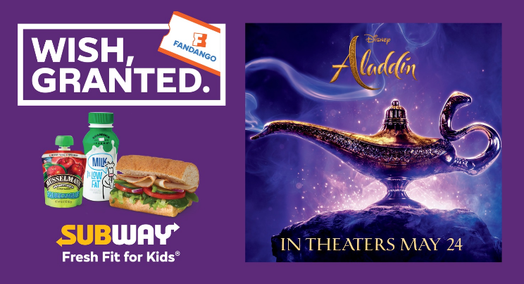 Subway to offer free movie ticket to see Aladdin with purchase of Fresh Fit for Kids Meal