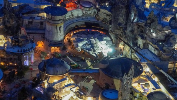 Final Construction Continues For Galaxy's Edge At Night