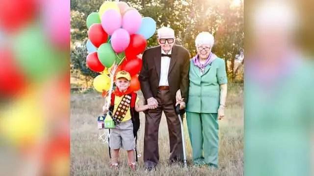 Up Photo Shoot Between Little Boy & Grandparents