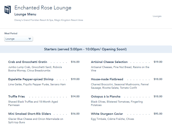 Full menu now available for the Enchanted Rose Lounge at the Grand Floridian Resort 1