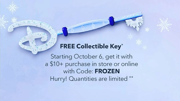 Free Frozen Collectible Key at the Disney Store & Online on October 6th 1