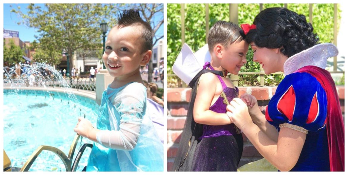 4-year-old Boy with Autism Loves to Wear Dresses Befriends Disneyland Characters
