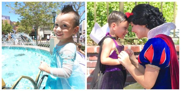 4-year-old Boy with Autism Loves to Wear Dresses Befriends Disneyland Characters 1