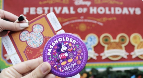 Sip and Save Disneyland annual passholder buttons at Festival of Holidays