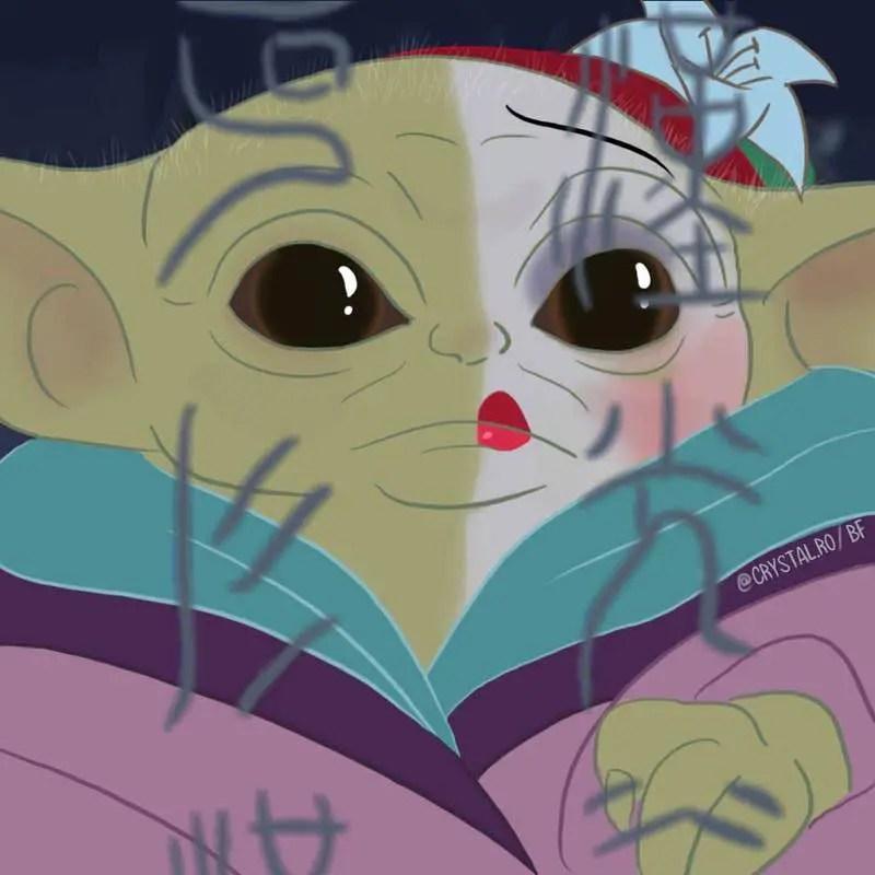 Artist Draws Baby Yoda as Disney Princesses