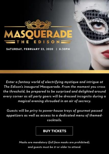 The Edison in Disney Springs Announces Masquerade Event 1