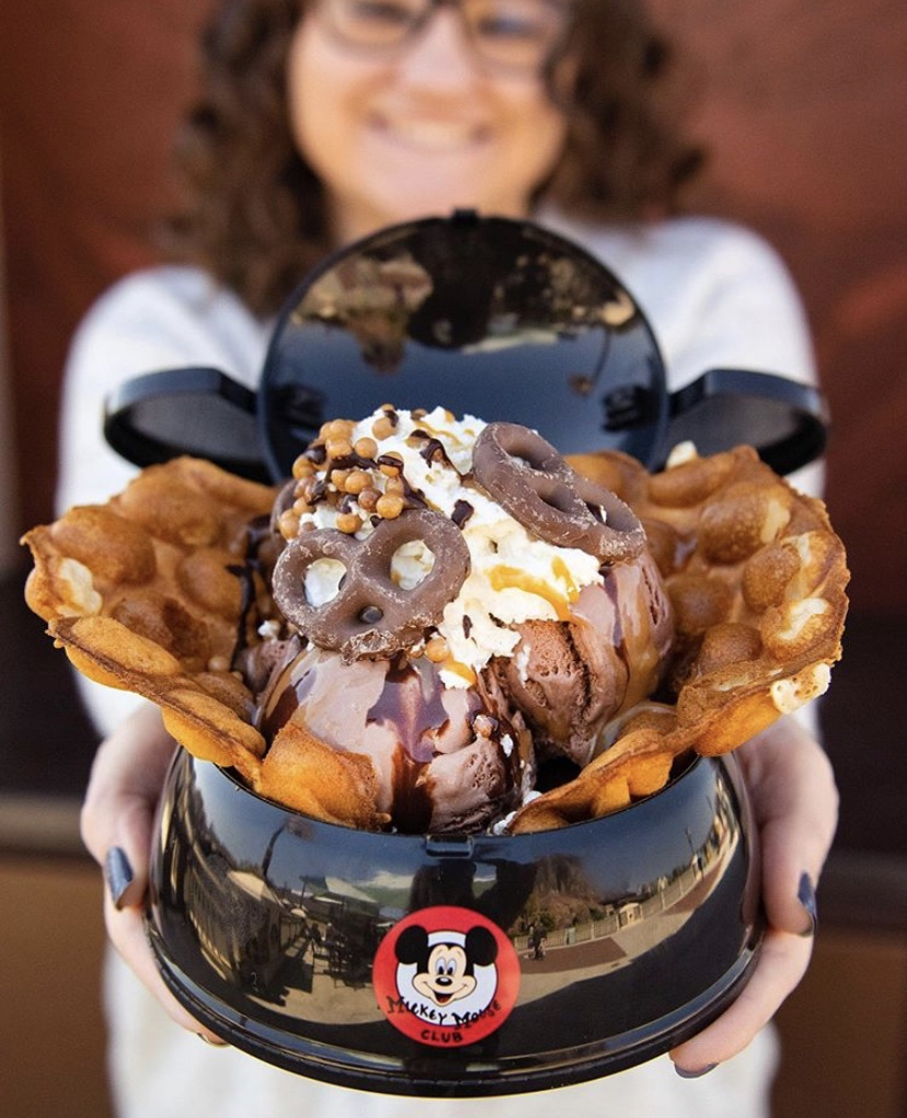 Bubble Waffle Served In Mickey Ear Hat At Disney Springs!