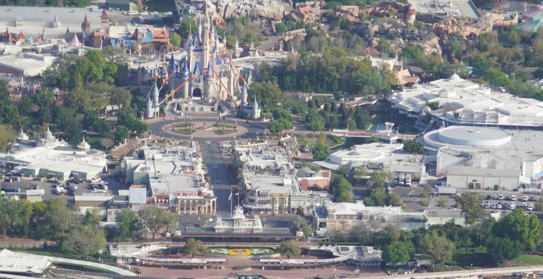 Aerial view of a closed Magic Kingdom