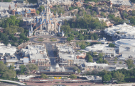Aerial view of a closed Magic Kingdom