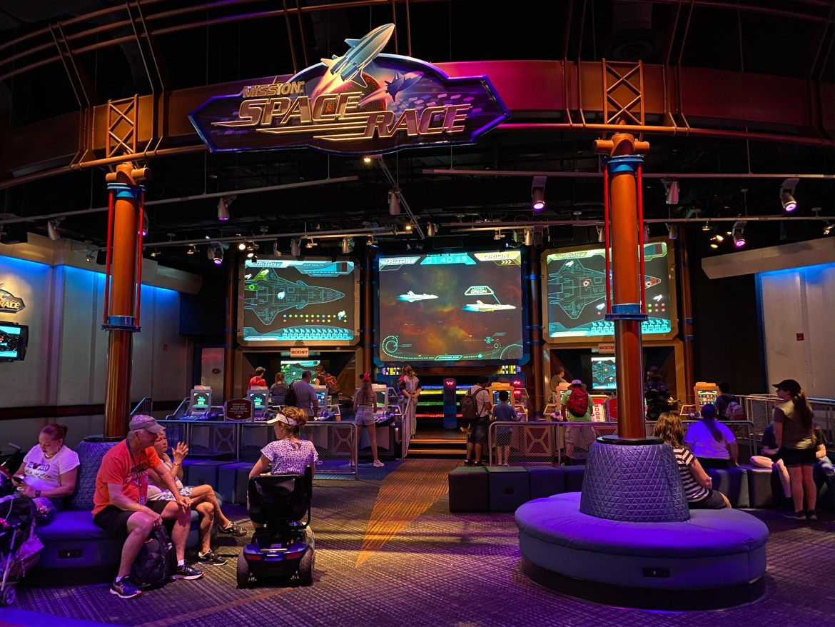 Improved Seating Area with Charging Stations in Mission: Space